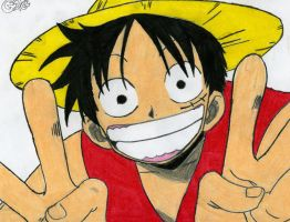 my drawing of luffy by good2games
