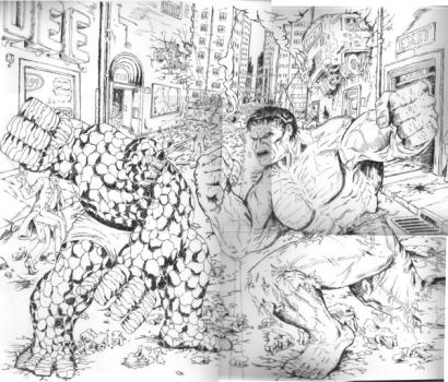 HULK VS THING by BROKENHILL