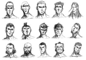 Male faces and expressions by RedlionV
