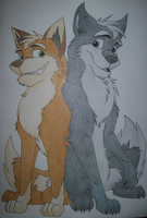 fox and wolf by coconeo333