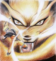 Naruto and Nine Tails by irtixboy