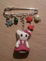 Brooch with Hello Kitty fimo by bimbalove81