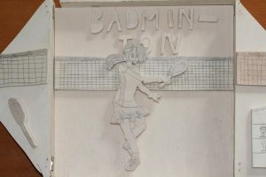 Wooden badminton girl by Mii-riam