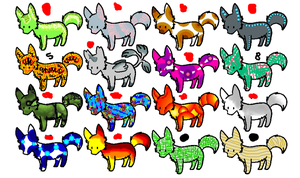 Wolf Adoptables  CLOSED by JEricaM