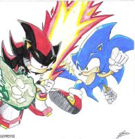 Sonic VS. Shadow by Ian-the-Hedgehog