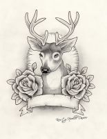 Stag and Roses Tattoo Design by kirstynoelledavies