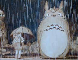 My Neighbor Totoro Coffee Painting by LucidArtist83