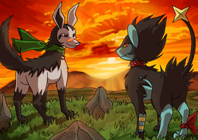 Mightyena and Luxray by kitfox-crimson