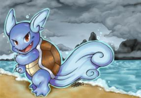 Wartortle Used... Rain Dance! by Pink-Angel-Kitty