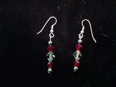 Red Swarovski Crystal Earrings by NightShrike