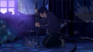 Blue Exorcist: Blue Flames of Sadness-Wallpaper by Wulfsista