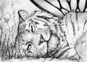 Sleeping Tiger Faery ACEO by starwoodarts