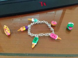 Clay Charm Bracelet attempt #1 by Vampluva