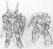 Sketch: Gundam custom and Zaku by Darcad