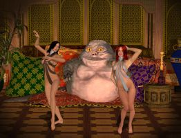 my cousin and I dancing for Jabba by Klgrently2