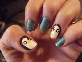 Adventure Time Gunter Nails by kawaii-panic