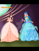 COM: Ashia and Sanny in balldresses (Screenshot) by AshianaAquaris