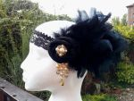 Mystique Black Feather Flapper Headband by paradiseshoretwins