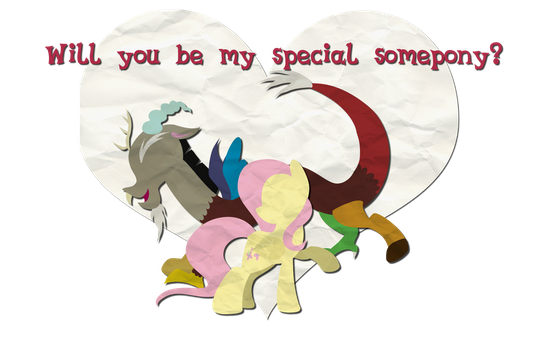 Fluttershy and Discord Valentines Card by Left2Fail