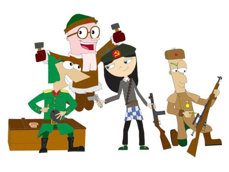 Phineas,Ferb and Isabella---Soviet Soldiers by 0SouthernCross0
