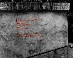 Poem on the wall by Yupa