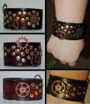 Steampunk Wristband by TheGreenestRose
