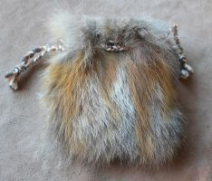 Red Fox Fur Pouch by lupagreenwolf