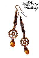 Steampunk Golden Drop Earrings by MissPennyFarthing
