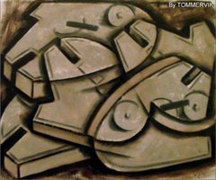 millenium falcon cubism abstract oil painting by TOMMERVIK