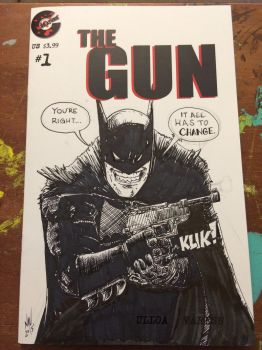 Batman ink srawing on a THE GUN Sketch Cover  by FWACATA