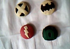 Clay superhero logo magnets by DeviantJewGirl96