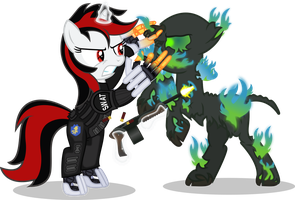 Blackjack vs Flaming Ghoul by Vector-Brony