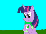Twilight Sparkle and Spike by alexeigribanov