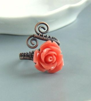 Coral red rose copper ring by VeraNasfa