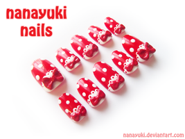 red dot nails by Nanayuki