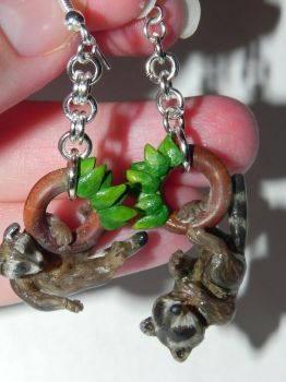 Baby Raccoon Earrings, Kits Hanging from Wooden Ho by Secretvixen