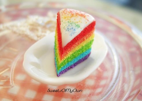 Rainbow Cake Slice Necklace by SweetsOfMyOwn