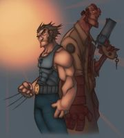 Wolvie and Hellboy by drucpec