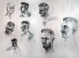 Male Head Studies by yolque