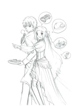 Party buffet food hunting by Ch1arII