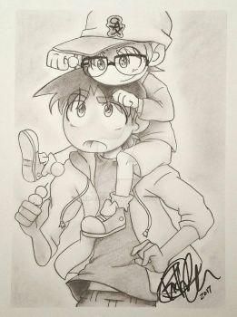 Hattori And Conan Charcoal Doodle by Rick-Elfen