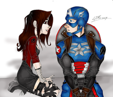 Scarlet Witch and Captain America by Hlontro