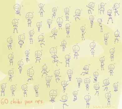 60 chibi pose references by Scilentor