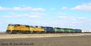 UP 4071 UP 2217 and 6 HLCX SD402s on UP MYCAS 25 by EternalFlame1891