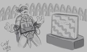 TMNT Mikey Sketch - TV is out by CandyKappa