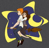 Ron and Hermione. coloured by SeafaringSarah