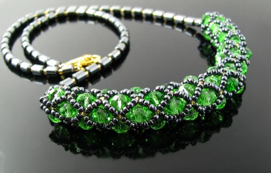 Filled netting necklace with crystals by CatsWire