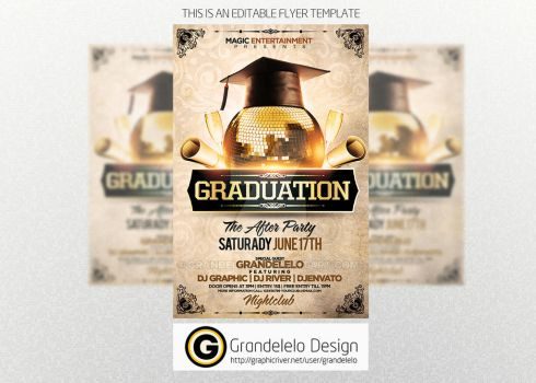 Graduation After Party Flyer Template PSD by Grandelelo