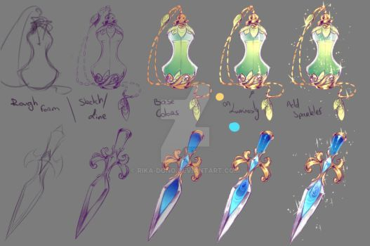 How I drew - Perfume Bottle and Dagger by rika-dono