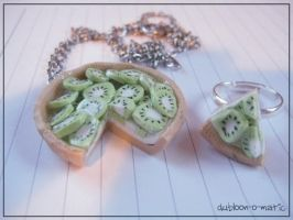 Kiwifruit Pie Necklace + Ring by dubloon-o-matic